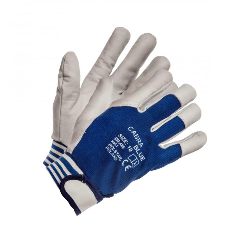 Rękawice ochronne CABRA BLUE skórzane