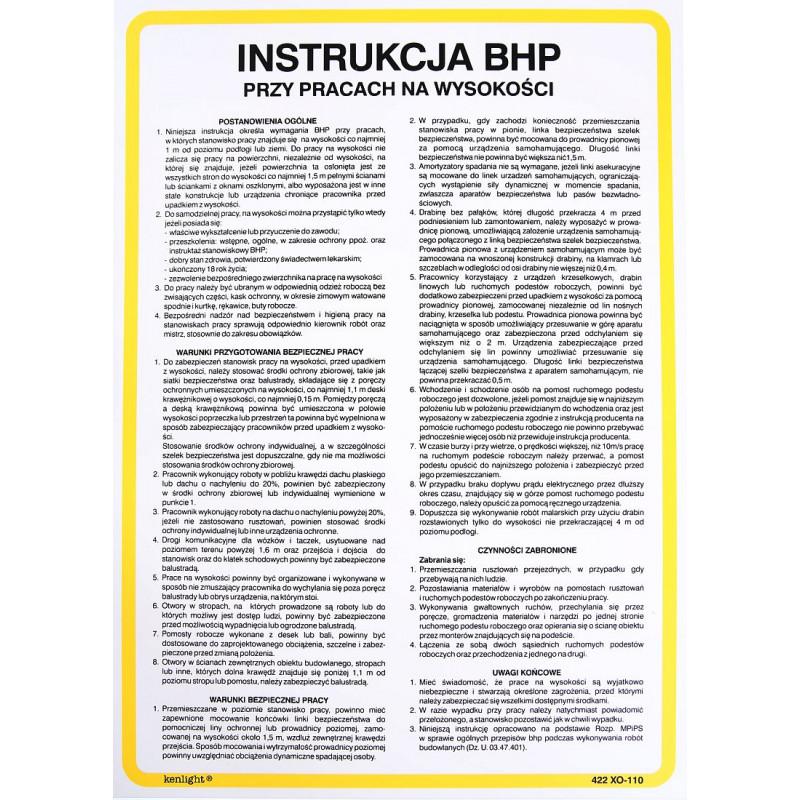Instrukcja BHP ptrzy pracach na wysokości