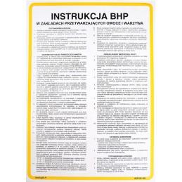 Instrukcja BHP w zakładach przetwarzających owoce i warzywa