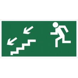 Kierunek do wyjścia drogi ewakuacyjnej schodami w dół (na lewo)