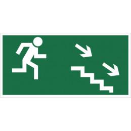 Kierunek do wyjścia drogi ewakuacyjnej schodami w dół (na prawo)