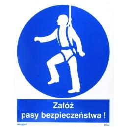 Znak : nakaz używania pasów bezpieczeństwa
