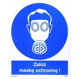 Znak : nakaz stosowania ochrony dróg oddechowych