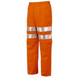Spodnie robocze do pasa odblaskowe z odpinanymi nogawkami