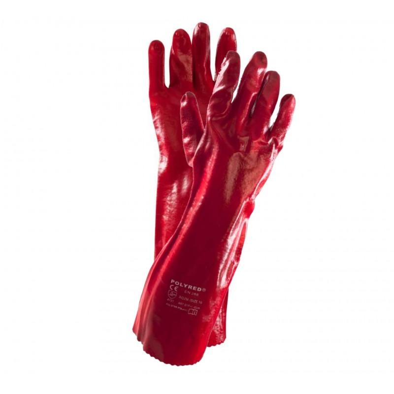 Rękawice ochronne powlekane PCV POLYRED długie 40 cm